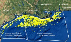 Gulf of Mexico Map Oil Rigs Map