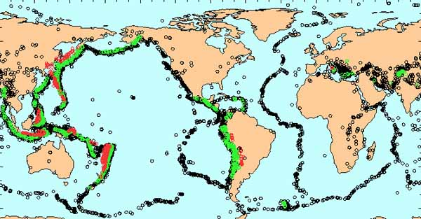 Map of the distribution of strong earthquakes of the Earth