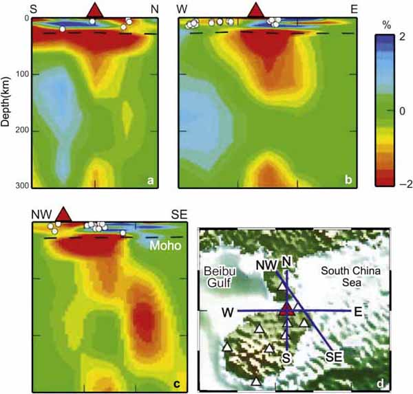 Vertical cross sections of whole-mantle P-wave tomography under the Hainan Dao volcano.