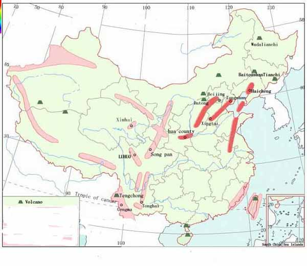 China Seismic Belts (pink) and Volcanoes (green triangles) Distribution Map.