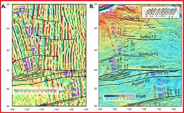 Полосчатые магнитные аномалии (А) и аномалии силы тяжести (В) на дне Тихого океана у берегов Калифорнии